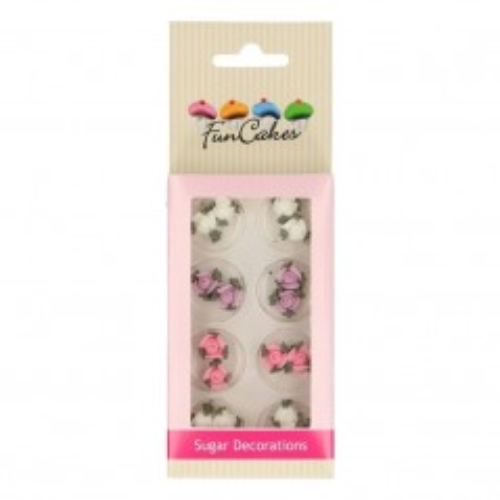 FunCakes Sugar paste decorations Roses with lieafs - Rosen mit Blättern - 16 Stück