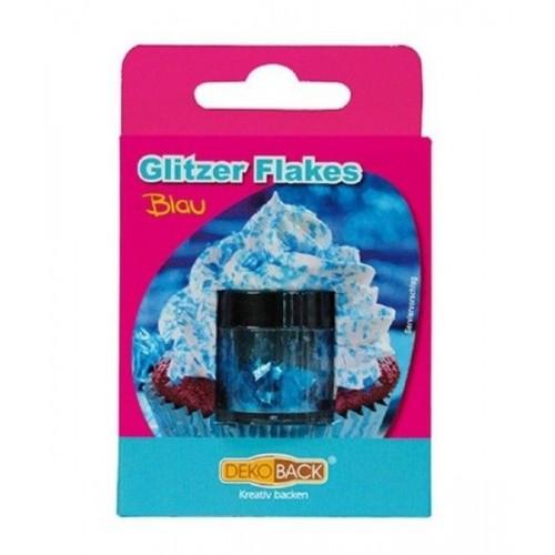 DecoCino essbare Glitter Flakes - Blau 2,5g