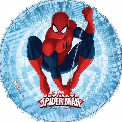 Essbare Papier Round - Spiderman - blau